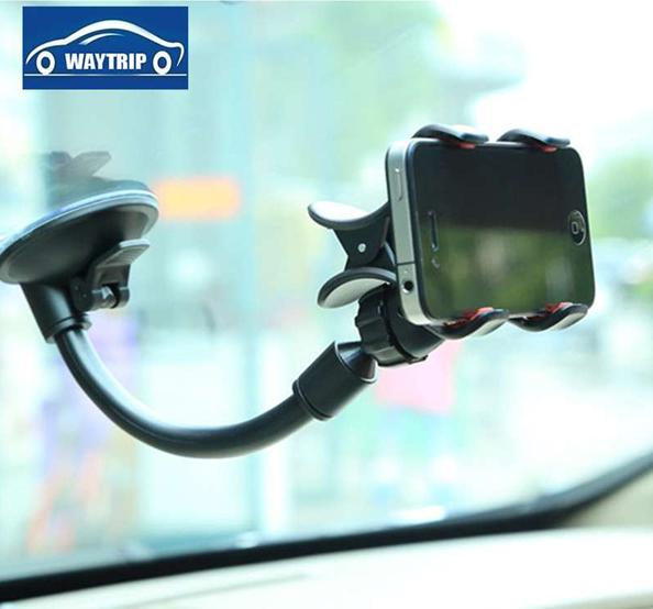 WAYTRIP车载手机支架 汽车手机支架车用多功能吸盘导航架手机座长颈强力吸盘三星苹果导航通用万能360度