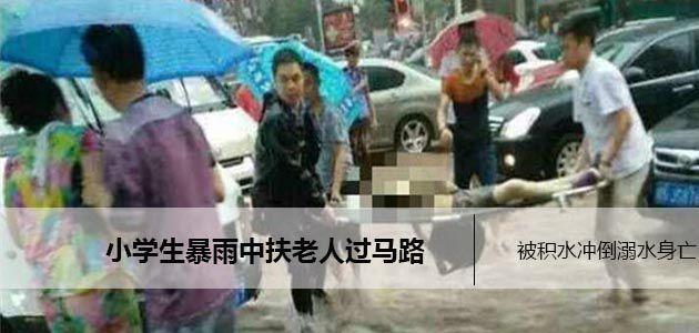 暴雨过后马路积水 12岁小学生搀扶老人过马路被积水冲倒溺水身亡
