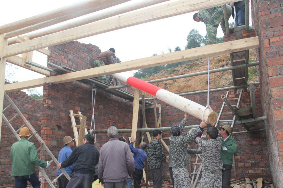 11、2016年11月30日上午9:33时,福建永安石峰村永兴祖殿重建工地上,村民们正在用上拉下顶的办法,把第2  ...